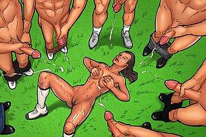 Shocking cartoon sex games with dirty slut jizz showered in bukkake