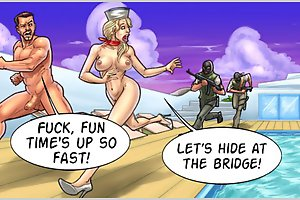 Fuck, fun time is up so fast! Let's hime my cartoon boobs at the bridge!