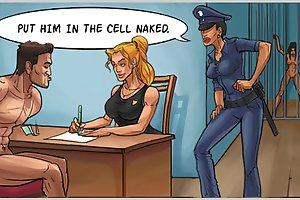 Horny babes dominating naked stud in prison in uniform cartoon porn