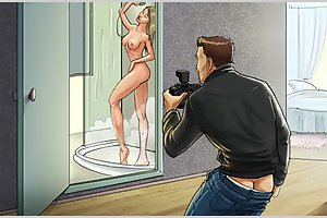 Amazing spy cartoons with horny busty cuties hunted naked on cams