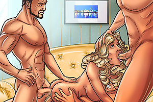 Group cartoon porn with girl & three men during cartoon fuck
