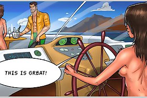 Horny xxx comics game with nude hottie fucked hard on the yacht