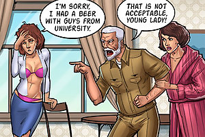 I had a beer with guys from university. That is not acceptable on sex comics game young lady!