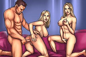 Nice horny hotties starve for hardcorfe cartoon anal sex with huge throbbing dork