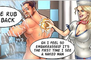 I feel so embarrased at game cartoon porn! It's the first time I see a naked man so close