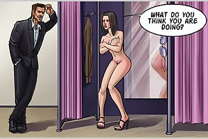 Sexy brunette slut spied naked in fitting room in super erotic cartoons