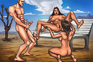 Mad cartoon porn pictures with big cock and two tight whores fucking in public