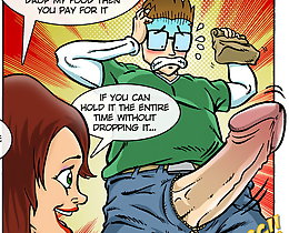 XXX comics porn. Sexy female start to doing blowjob just after she received her purchase