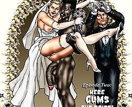 White bride and black fucker interracial toon sex