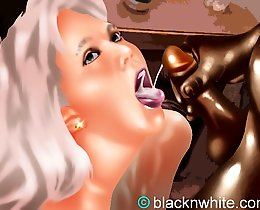 Black cocks and white slut's throats interracial comic mix
