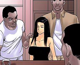 Interracial cartoon group sex: one girl and four niggas