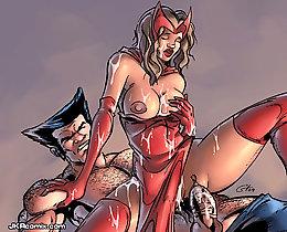 Spiderman sex cartoon, Lara Croft cartoon nude, Wolverine sex comics