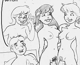 Archie thanks a witch for double cock, now he can have sex with two cartoon girls
