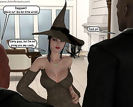 White witch and three black gentlemens 3d porn toons