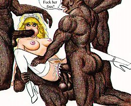 Two black cocks cartoon rape one white pussy