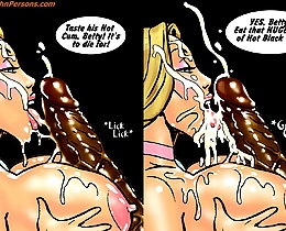 Two hot white bitches eating cum from black cock cartoon sex comics