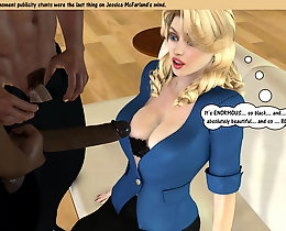 John Person porn. Interracial 3D sex with three guys and busty blondy