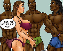 Awesome brunette girl is seduced with interracial toon sex porn stars equipped with enormous dicks!