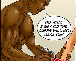 Buxomy pretty girl first meets such a big ebony prick in interracial erotic comics!